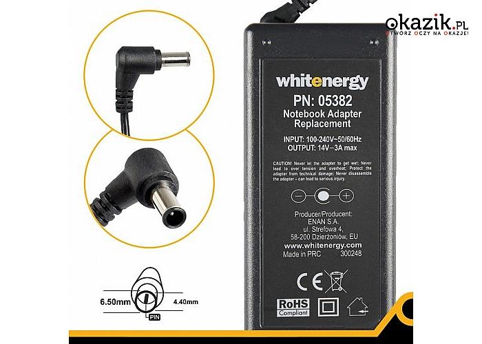 Whitenergy: Ładowarka do laptopa 14V 3A 40W 6.5x4.4 mm + pin