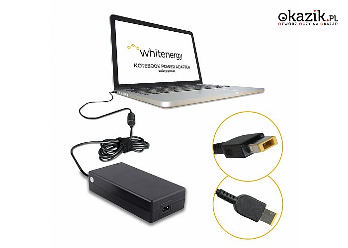 Whitenergy: Zasilacz do laptopa Lenovo Thinkpad 20V 6.75A wtyk:11x4.5x0.6