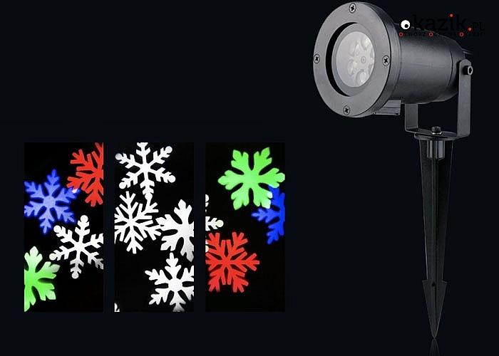 Genialny Projektor LED Snowflake! Ogromna alternatywa dla tradycyjnych świecących lampek! Kolorowe lub białe śnieżynki!