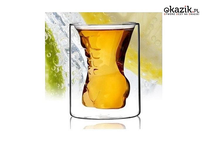 Kusząca szklanka z wgłębieniem w kształcie męskiego ciała