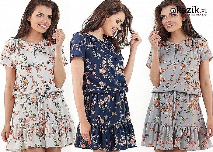 Krótka sukienka z motywem kwiatowym z falbaną