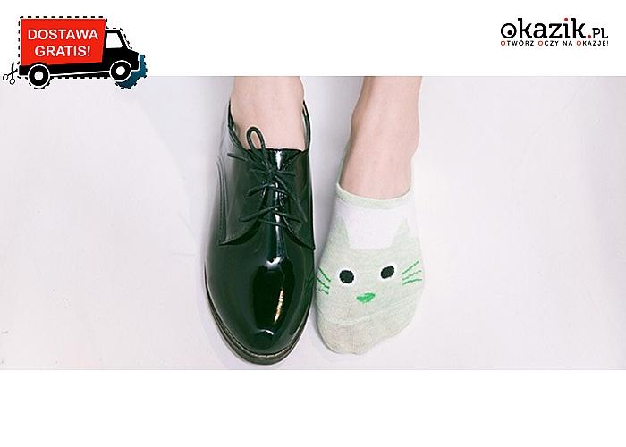 Miej kota na nogach! Skarpety- stopki z zabawnym kotkiem. 5 kolorów do wyboru