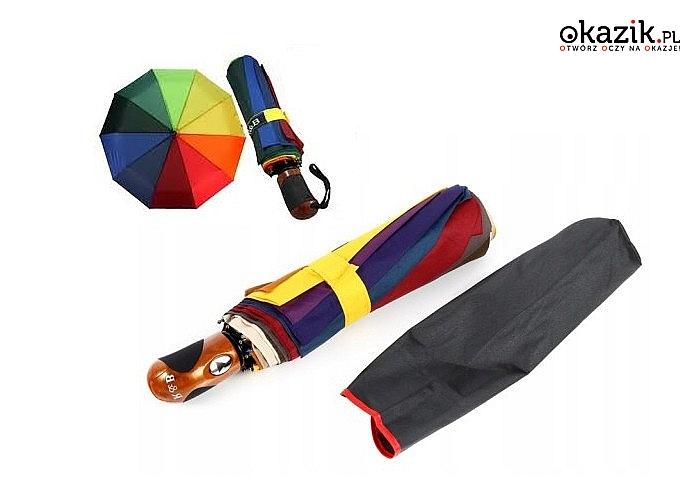 Automatyczny parasol składany! Wykonany z wysokiej jakości materiałów! Soczyste i żywe kolory tęczy!