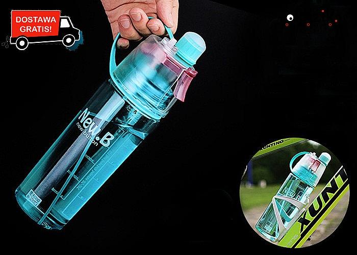 Oryginalna lekka butelka z ustnikiem. Działa jak spray na upały.  Pojemność 600ml. Różne kolory.