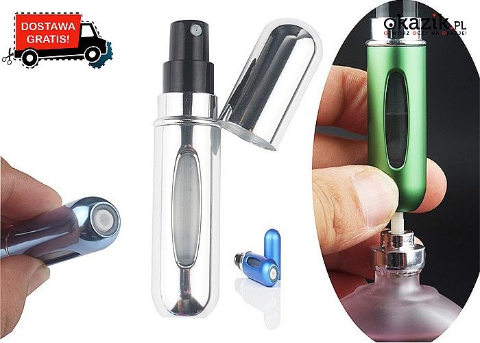 Miej swoje ulubione perfumy zawsze przy sobie! Atomizer o pojemności 5 ml w 11 kolorach do wyboru!