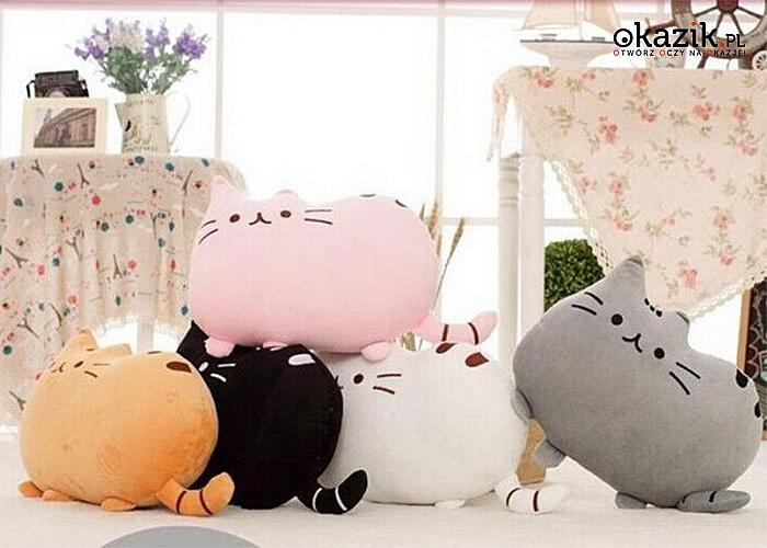 Piękna, dekoracyjna poduszka w kształcie kota! Niezwykle modny wzór kota z popularnej emotki! Dla dzieci i dorosłych!