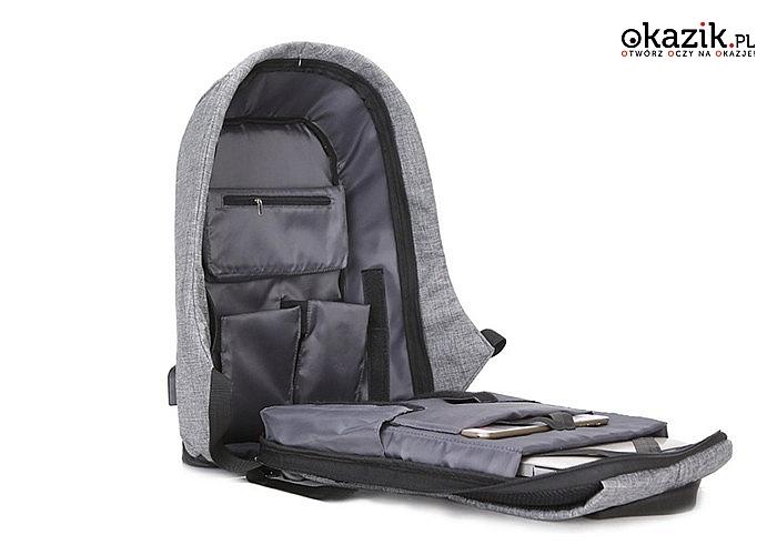 Lekki plecak antykradzieżowy! Wykonany z najwyższej jakości materiałów! Odporny na przecięcia nożem! Port USB!