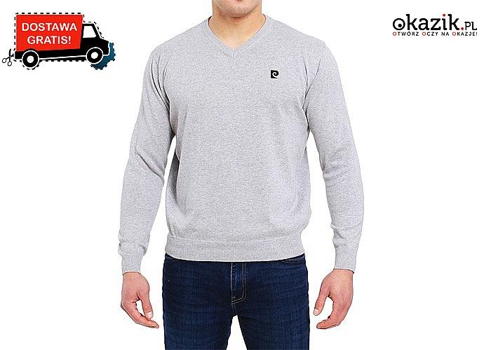 Hit! Klasyczny sweter męski Pierre Cardin z trójkątnym dekoltem! Najwyższej jakości materiał! 100% Bawełny!