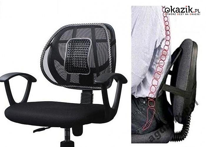 Zadbaj o swój kręgosłup podczas pracy przy biurku lub za kierownicą! Podpórka pod plecy z masażerem!