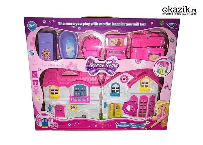 Interaktywny domek dla lalek, zabawka rozwijająca wyobraźnie oraz kreatywność