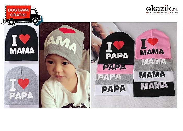Bawełniana CZAPKA DZIECIĘCA I love mama lub I love papa. 4 kolory do wyboru!