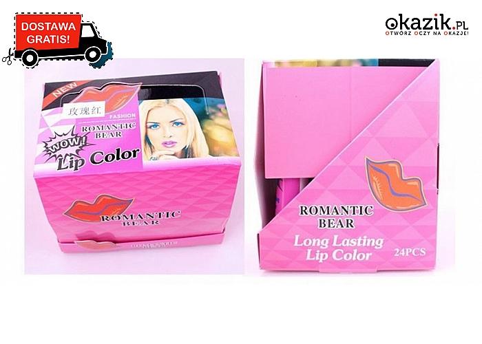 Innowacyjny, wodoodporny BŁYSZCZYK do ust ROMANTIC BEAR. 6 kuszących kolorów!