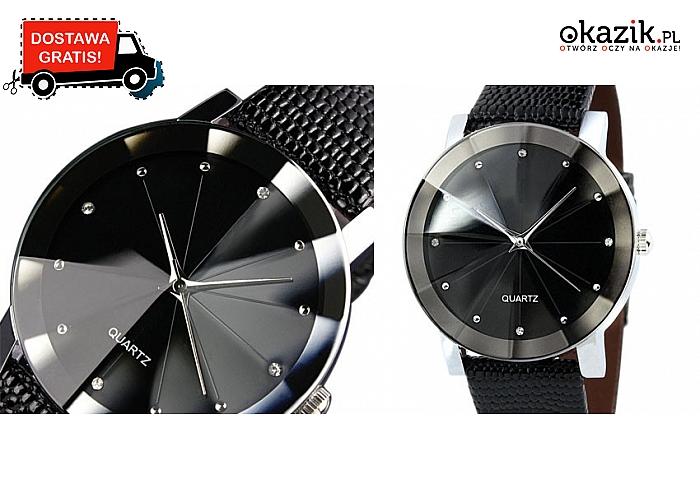 Męski czarny klasyczny zegarek na pasku. Modny i ponadczasowy design (29.90 zł)