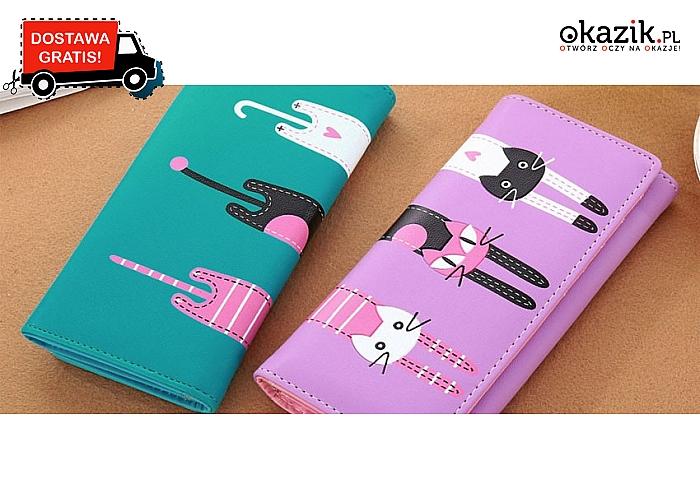 Wysokiej jakości SKÓRZANY PORTFEL z kotami! 3 kolorowe modele do wyboru. Wysyłka GRATIS.