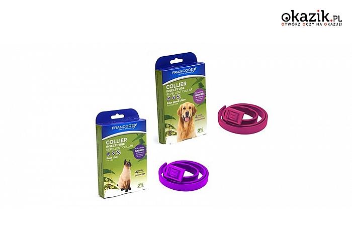 OWADOBÓJCZA OBROŻA FRANCODEX dla kota lub psa ze 100% naturalnym wyciągiem z modli indyjskiej