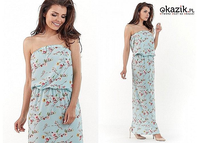 Modna długa sukienka damska w kwiaty AWAMA! Idealna na wiosnę i lato! Trzy kolory do wyboru!