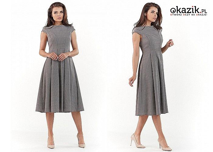 Sukienka damska w kratkę! Krótka albo długa! Najwyższa jakość wykonania! Modny fason!