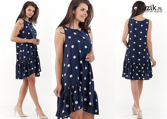 Modna sukienka w grochy. Różne rozmiary