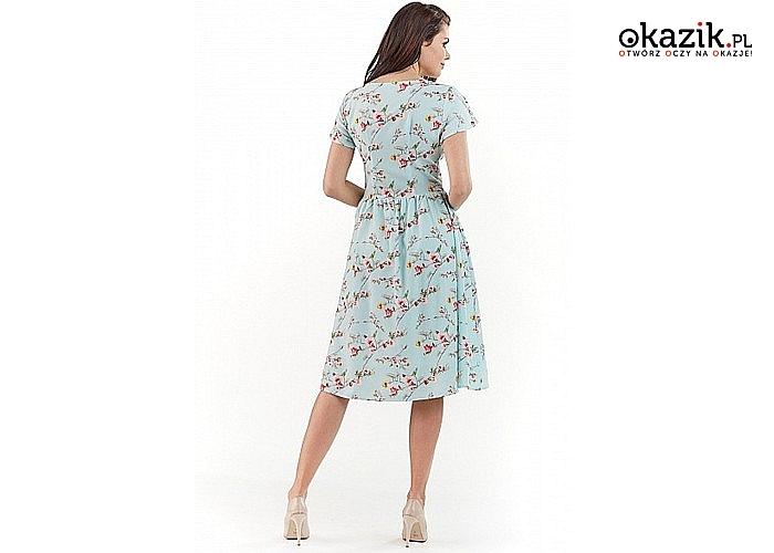 Modna sukienka damska w kwiaty AWAMA! Idealna na wiosnę i lato! Trzy kolory do wyboru!
