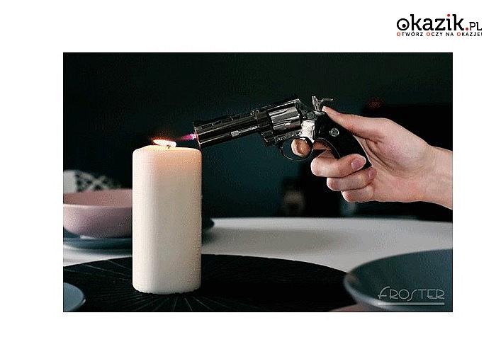 Zapalniczka Rewolwer to oryginalny i efektowny upominek dla gentlemenów, a także każdego miłośnika broni i filmów akcji