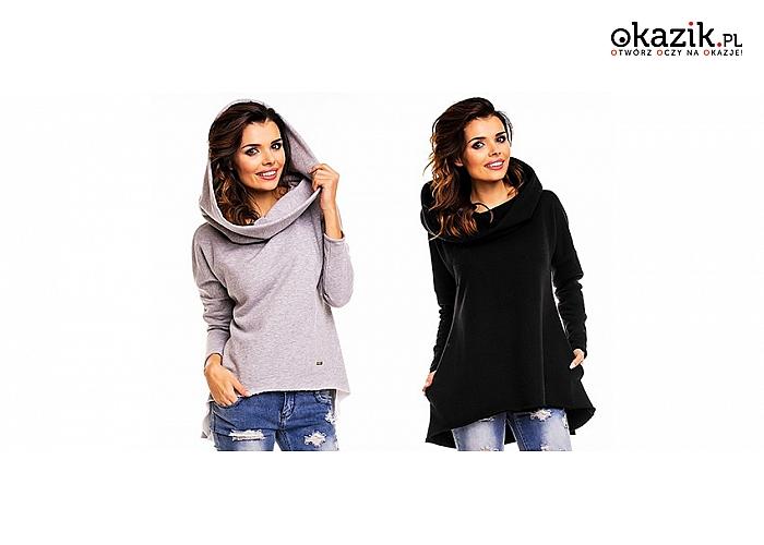 Modna bluzka – tunika damska w dresowym stylu, z kapturem, różne rozmiary
