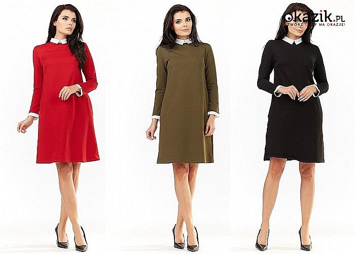 Sukienka oversize  z eleganckim kołnierzykiem i kiszeniami! Trzy kolory do wyboru