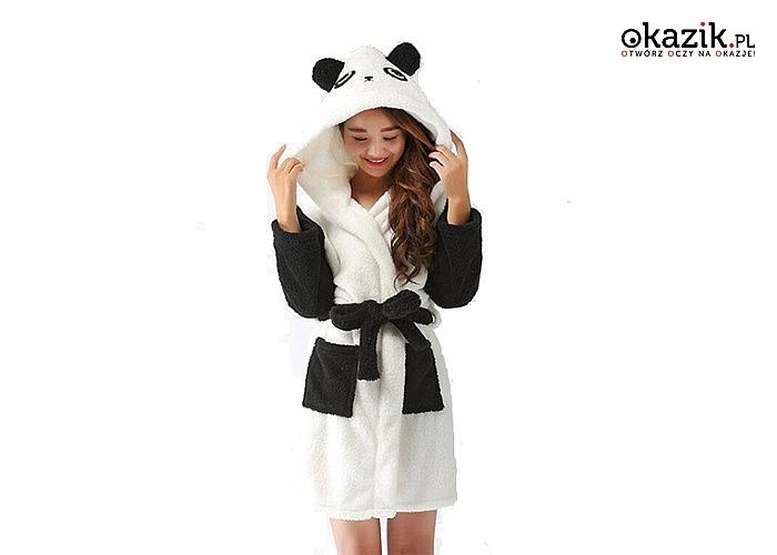 NOWOŚĆ! Szlafrok z motywem Pandy! Wykonany z przyjemnego i miękkiego w dotyku polaru!