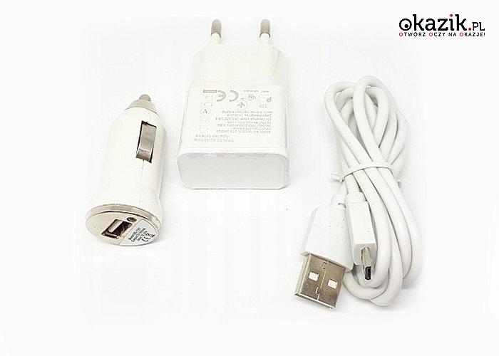 Praktyczny zestaw 3 w 1 – ładowarka sieciowa, samochodowa + kabel!!
