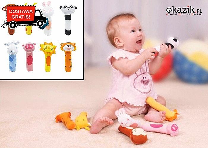 Pluszowa grzechotka dla dziecka! Przyjemna kolorystyka zachęci każdego maluszka do zabawy! Mnóstwo modeli!