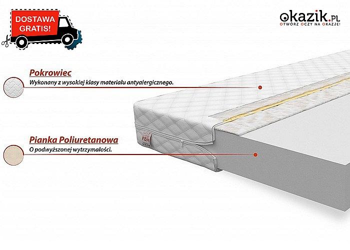 Piankowy materac z dużą odpornością na odkształcenia oraz pikowanym, antyalergicznym pokrowcem