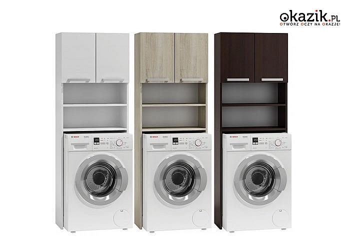 Regał łazienkowy z nadbudowa nad pralkę. Bardzo praktyczne rozwiązanie szczególnie przydatne w małych pomieszczeniach