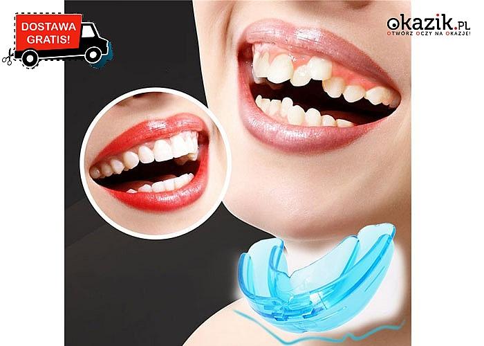 Piękny zdrowy uśmiech z nakładką ortodontyczną