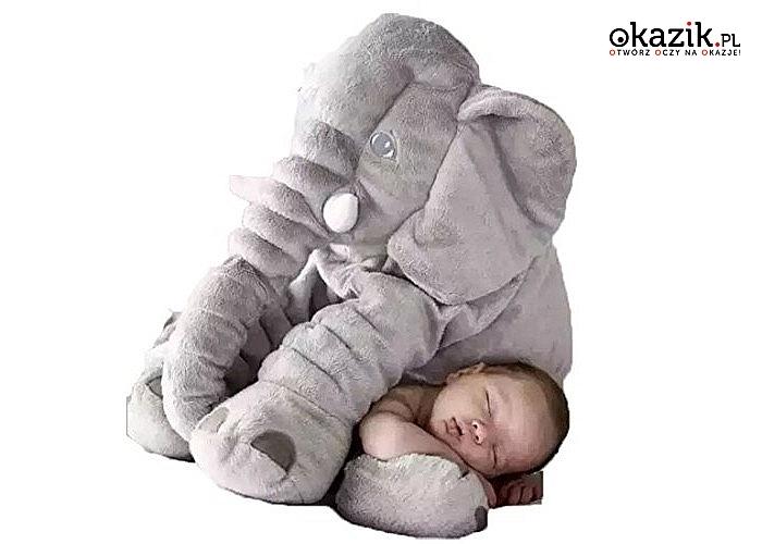 Poduszka pluszowy słoń idealna do zabawy, jak i do drzemki słodkiego maluszka