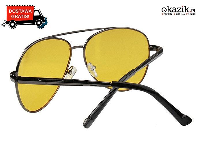 Okulary zapewniające komfort widzenia podczas jazdy w trudnych warunkach