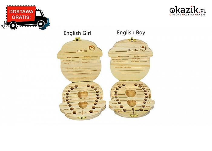 Drewniane pudełeczko na mleczne zęby i pępowinę: wersja dla chłopca i dziewczynki. Wysyłka GRATIS! (39.90 zł)
