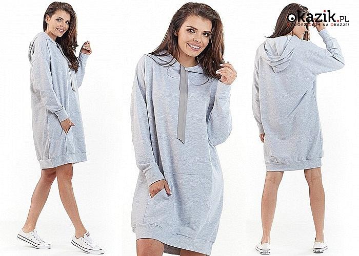 Długa bluza damska AWAMA z kapturem! W sportowym stylu! Doskonała do luźnej stylizacji!