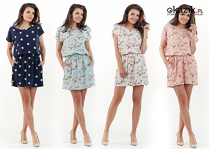 Krótka sukienka w modne wzory nieodzowny element damskiej garderoby