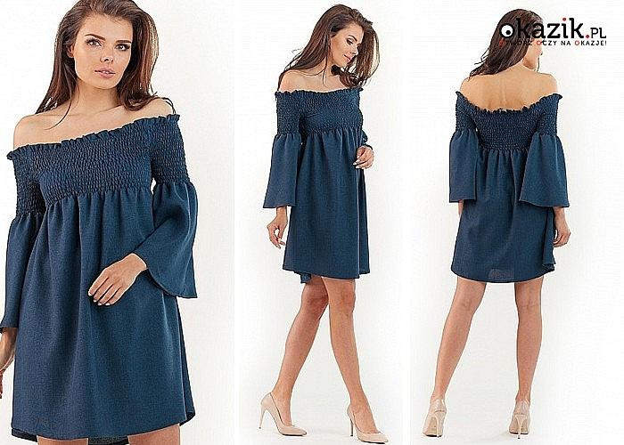 Modna sukienka typ hiszpański. Długi rękaw
