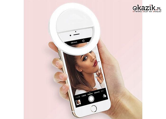 Selfie z profesjonalnym oświetleniem! Lampa do zamontowania przy przedniej kamerce w Twoim smartfonie!