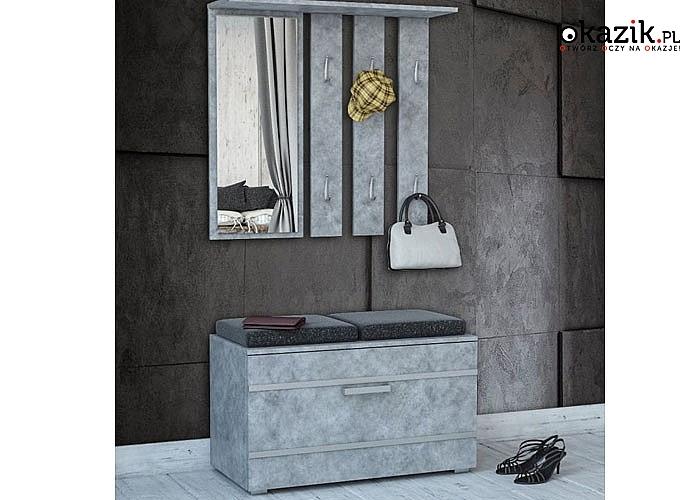 Zestaw mebli do przedpokoju Garderoba Opal, zestaw zawiera: wieszak ,lustro, szafkę na buty. Meble dostępne w 3 kolorach