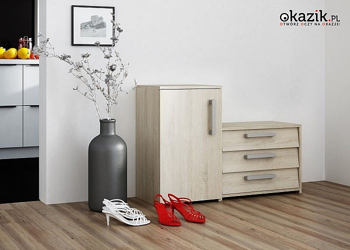 Elegancka , modna i praktyczna szafka na buty, sprawdzi się w każdym przedpokoju ,nawet w takim o niewielkich wymiarach