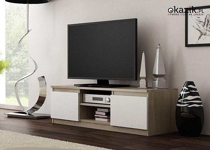 Stolik pod TV Otwarta półka pozwalająca na ustawienie sprzętu, z otworem ułatwiającym dyskretny montaż okablowania