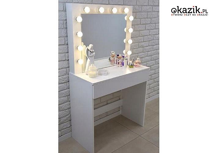 Toaletka do wizażu, z 12 ledowymi światełkami, które odpowiednio oświetlą twarz podczas przygotowywania makijażu