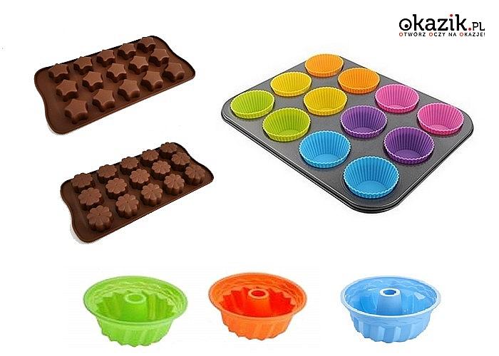 Silikonowe formy do ciast. Różne kształty, wzory i kolory