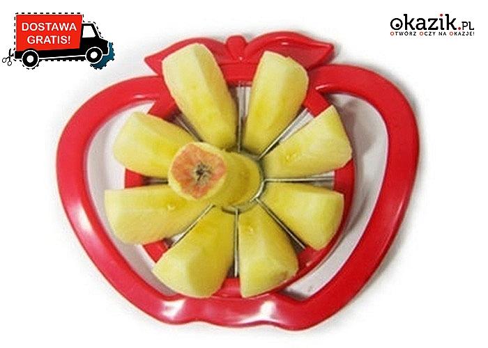 Krajalnica do jabłek i podobnych owoców, dzięki której szybko i wygodnie pokroimy owoce na sałatkę lub przekąskę