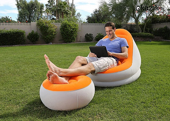 HIT! Fotel dmuchany Bestway z podnóżkiem! Doskonały na letni wypoczynek!