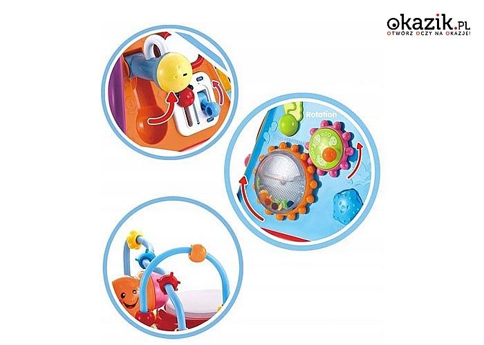 Multimedialna interaktywna kostka edukacyjna posiada efekty dźwiękowe oraz 6 boków