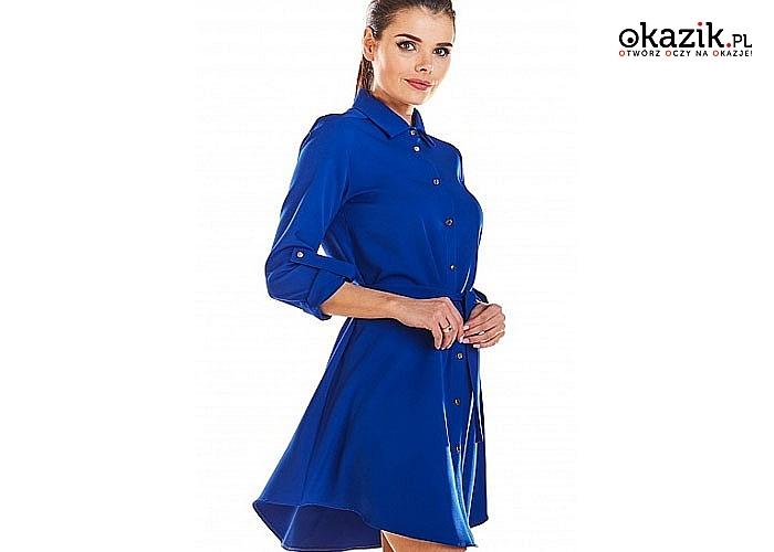 Zwiewna Sukienka Koszulowa. Bardzo kobieca,jej krój podkreśli wszystkie Twoje atuty