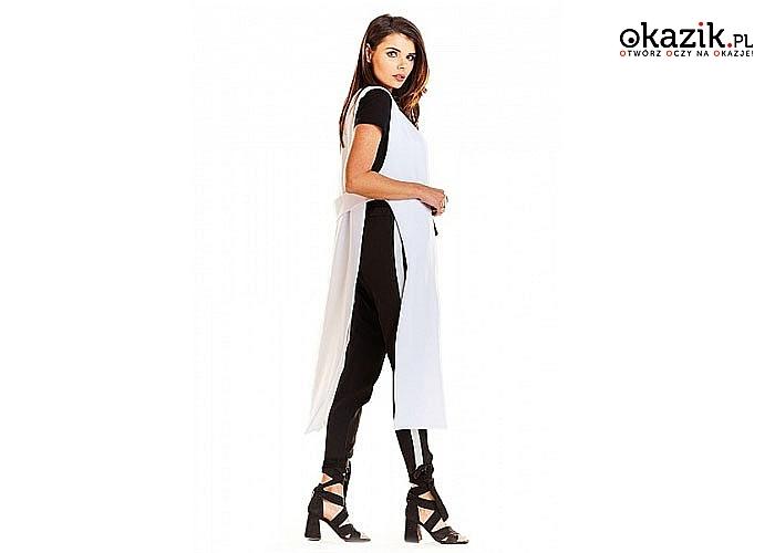 Długa kamizelka, bardzo modny krój, doskonałe wykończenie całej stylizacji