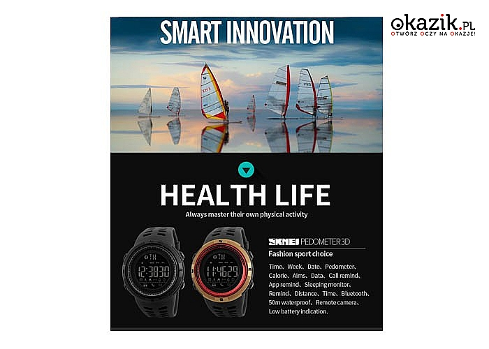 Oryginalny zegarek firmy SKMEI! Sygnalizuje powiadomienia! Bluetooth! Wodoszczelny! Krokomierz!